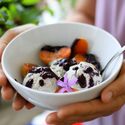 Lavender Ice Cream with Apricots Poached in Blueberry Sauce