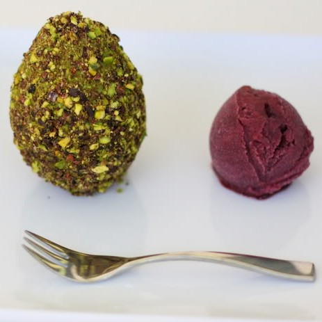 Chocolate Avocado Truffles and Concord Grape Sorbet