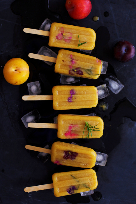 Roasted Yellow Plum and Rosemary Popsicles