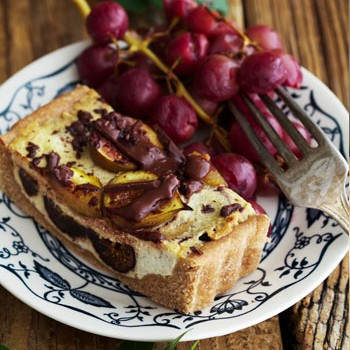 Ricotta Fig Tart with Chocolate and Roasted Grapes