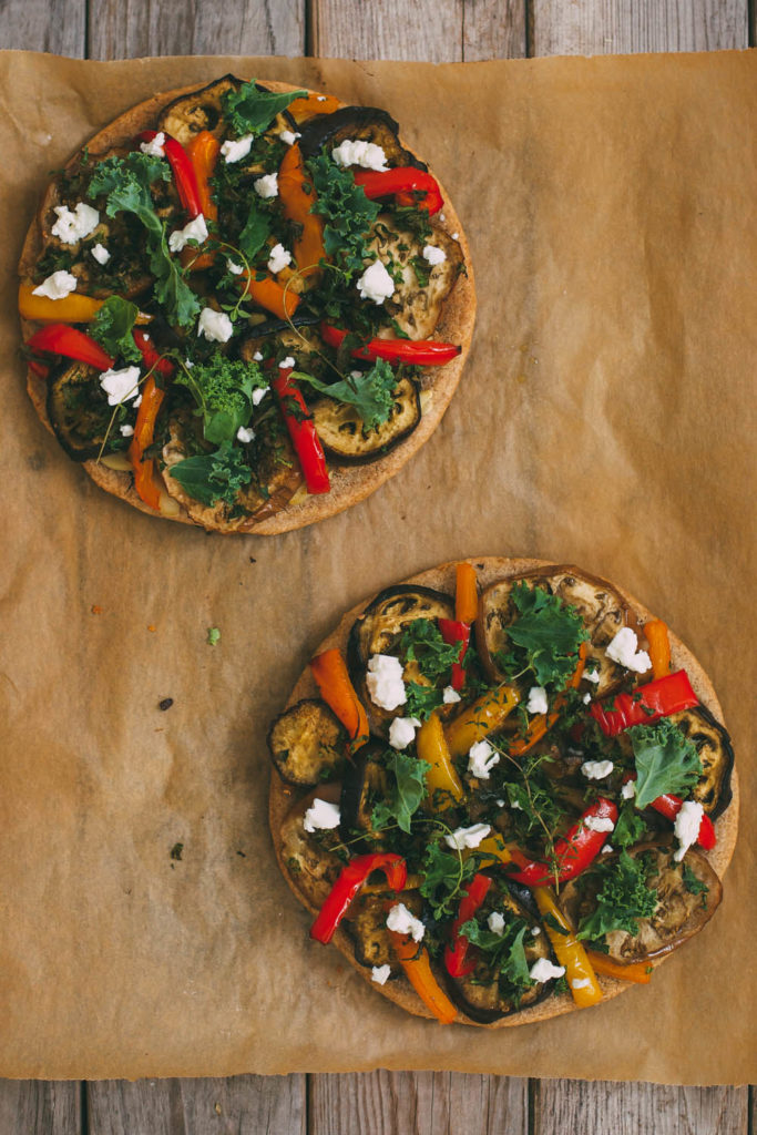 Roasted Eggplant and Pepper Pizza on a Buckwheat Crust