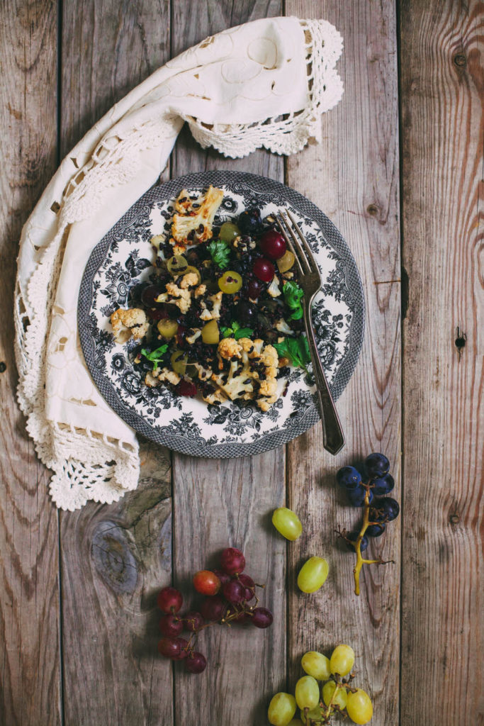 Warm Salad of Roasted Cauliflower, Grapes and Black Rice