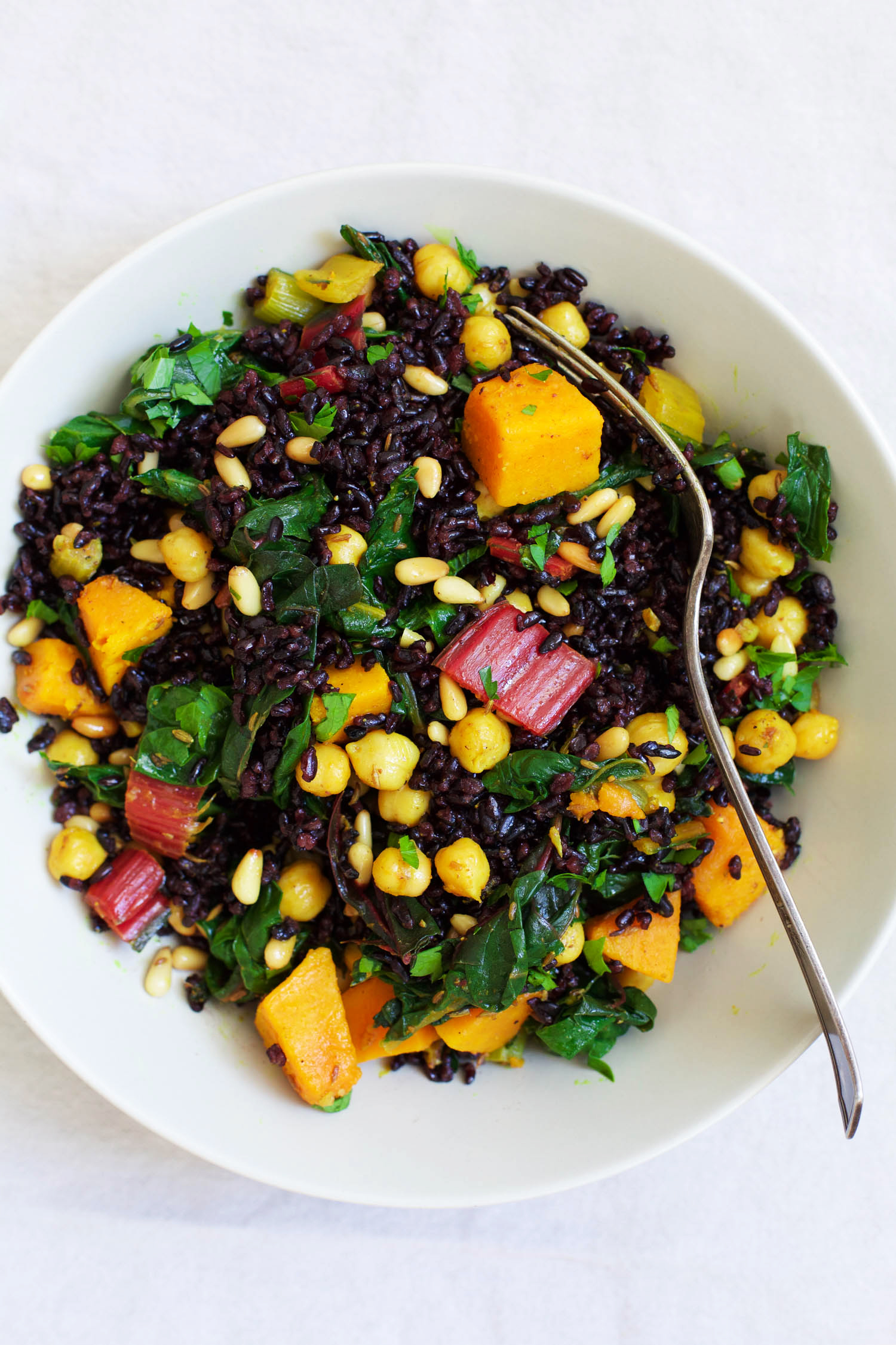 Black Rice Salad with Curried Chickpeas, Squash and Swiss Chard ...