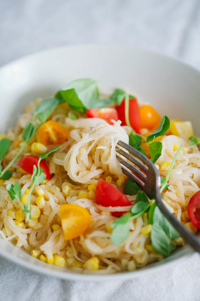 Daikon Radish Pasta With Corn and Tomatoes in Creamy Coconut Sauce