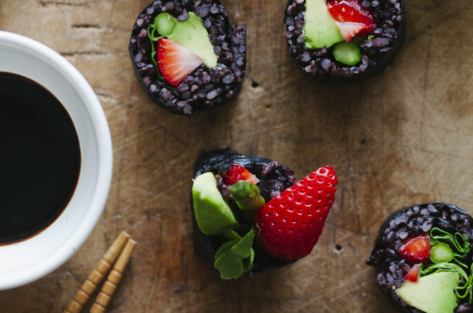 Strawberry and Asparagus Black Rice Sushi | Golubka Kitchen