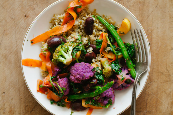 Marinated Summer Vegetables and Beans over Freekeh