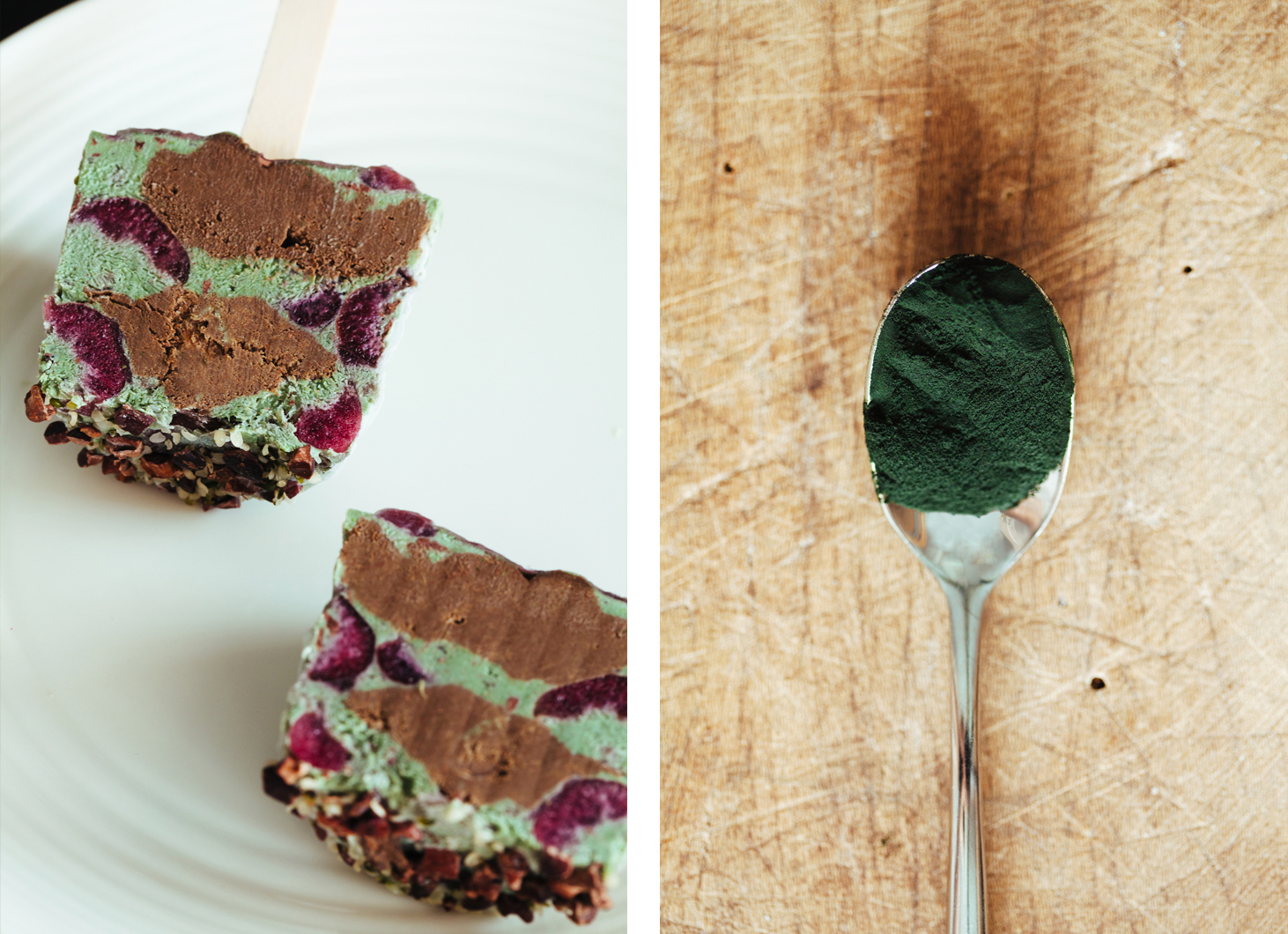 Superfood Cherry Garcia Pops w/ a Chocolate Core | Golubka Kitchen