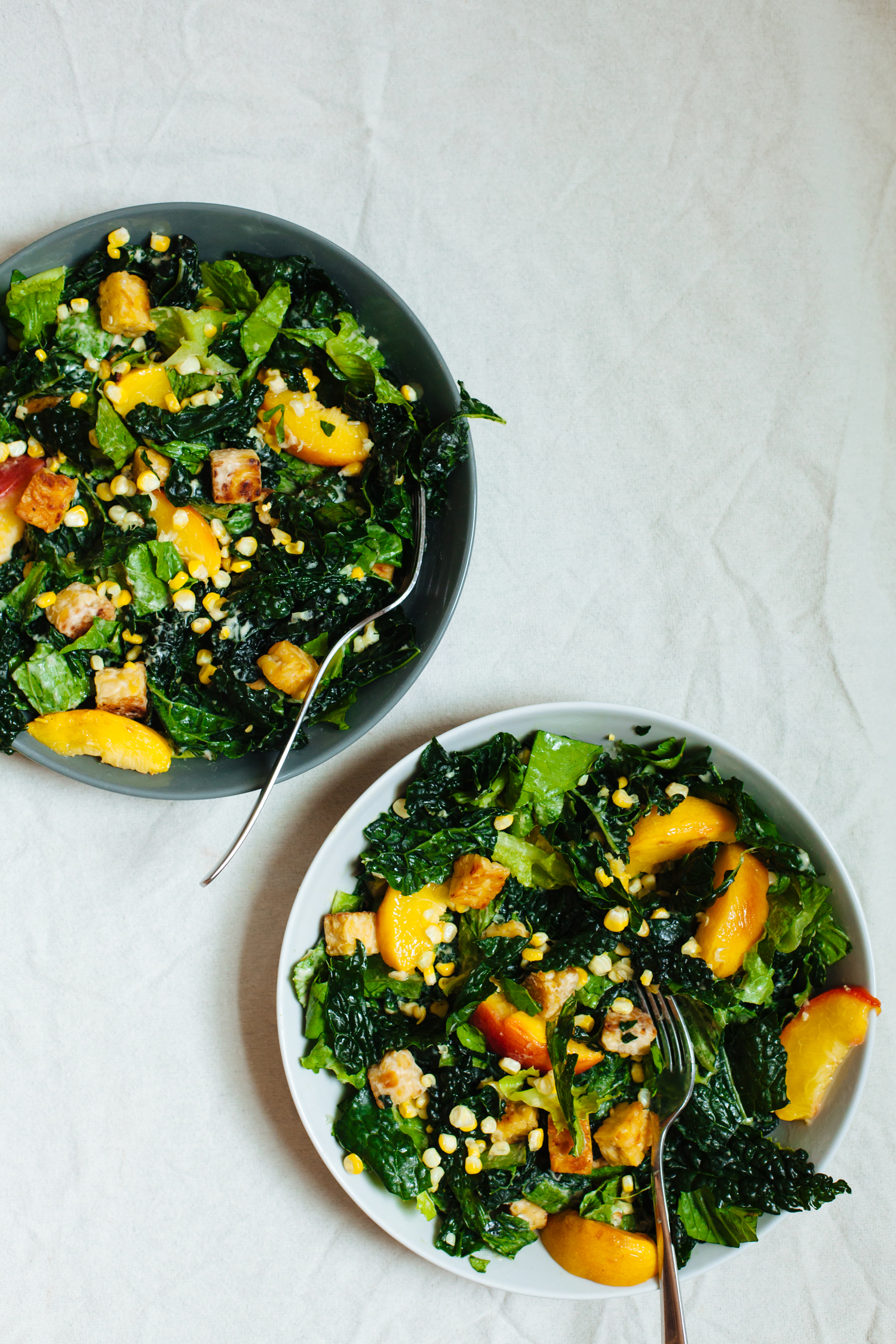 Vegan Caesar Salad with Tempeh Croutons, Roasted Peaches and Corn ...