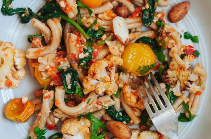Sprouted Almond Romesco Pasta with Roasted Cauliflower and Blistered Tomatoes | Golubka Kitchen