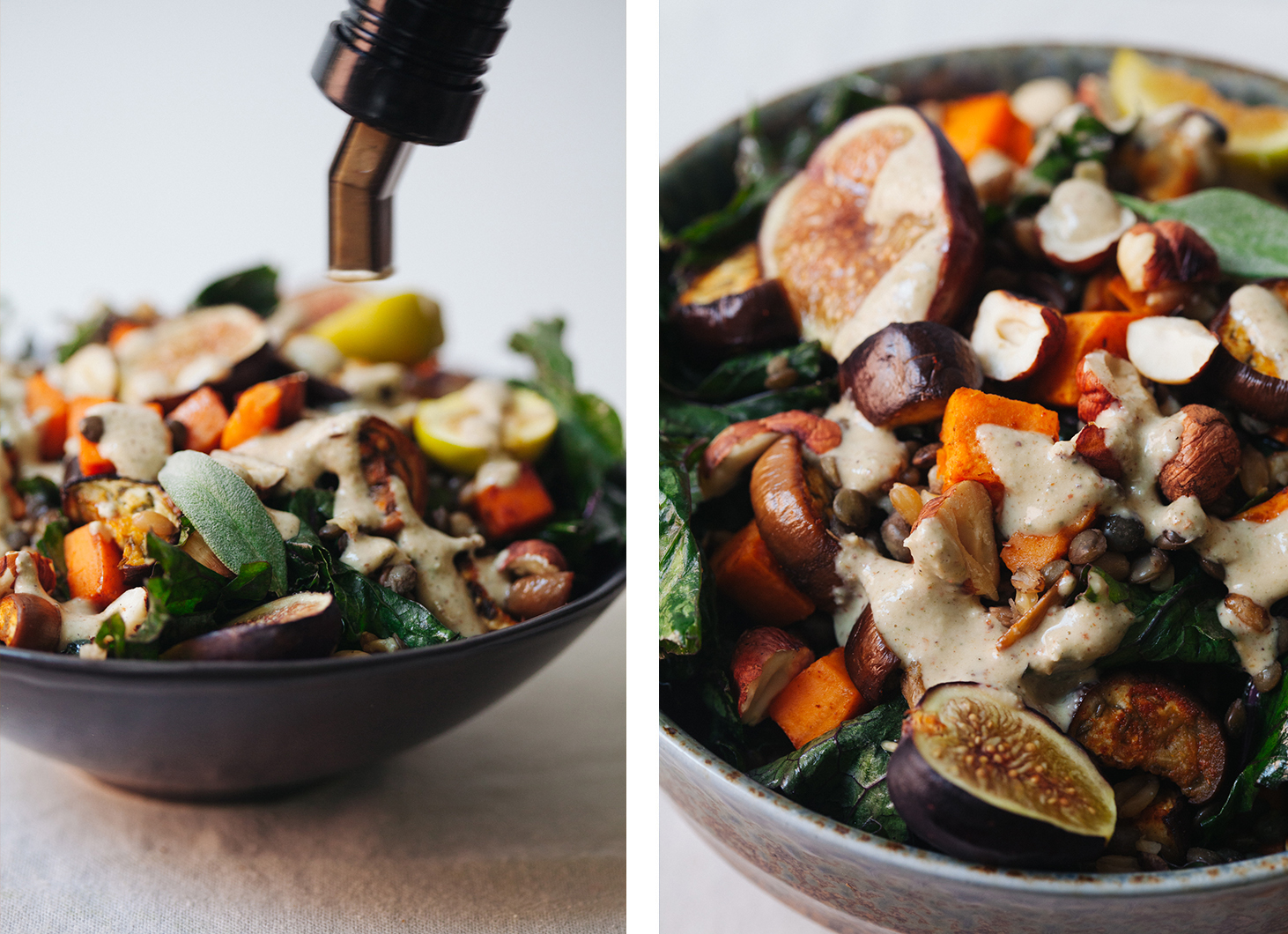 Fig, Sweet Potato and Eggplant Bowl with Hazelnut Vinaigrette | Golubka Kitchen