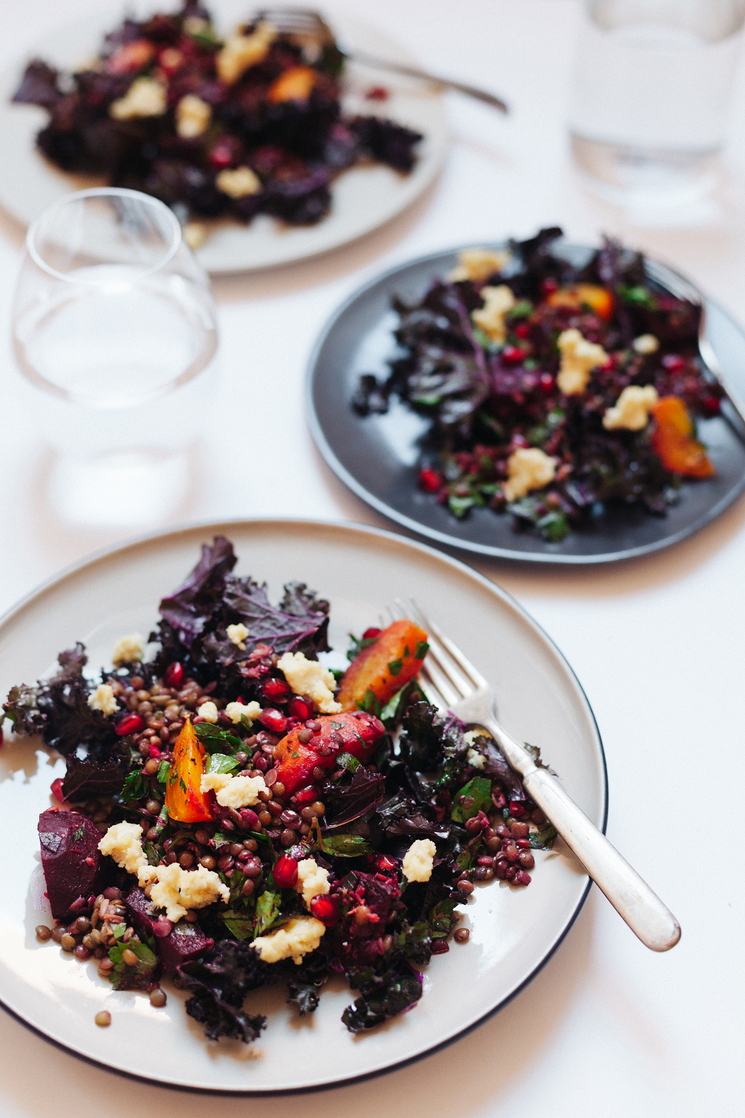 Kale Salad with Marinated Beets, Lentils and Almond Cheese | Golubka Kitchen
