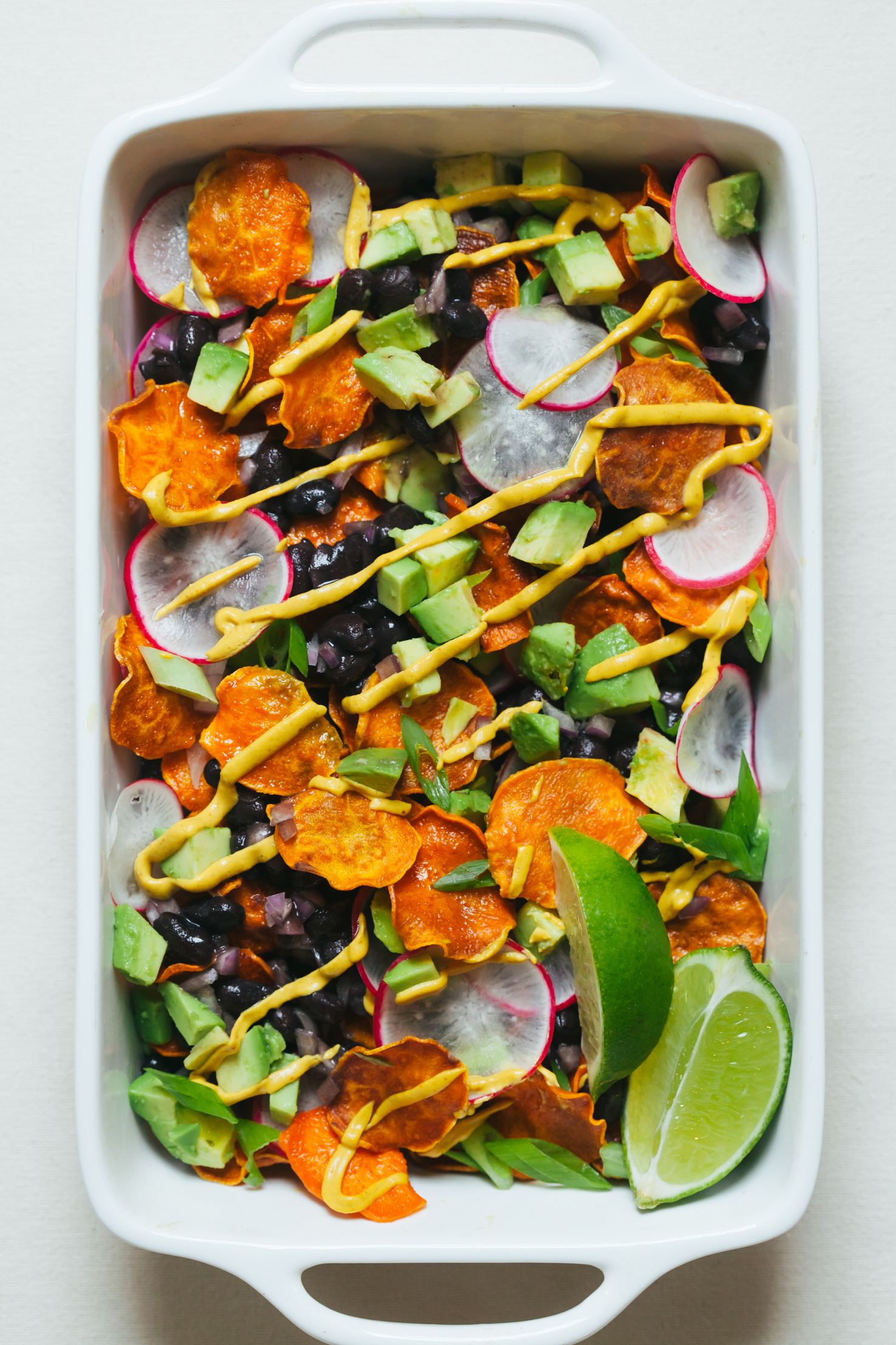 Sweet Potato Nachos with Cheesy Chipotle Sauce and All the Fixings | Golubka Kitchen