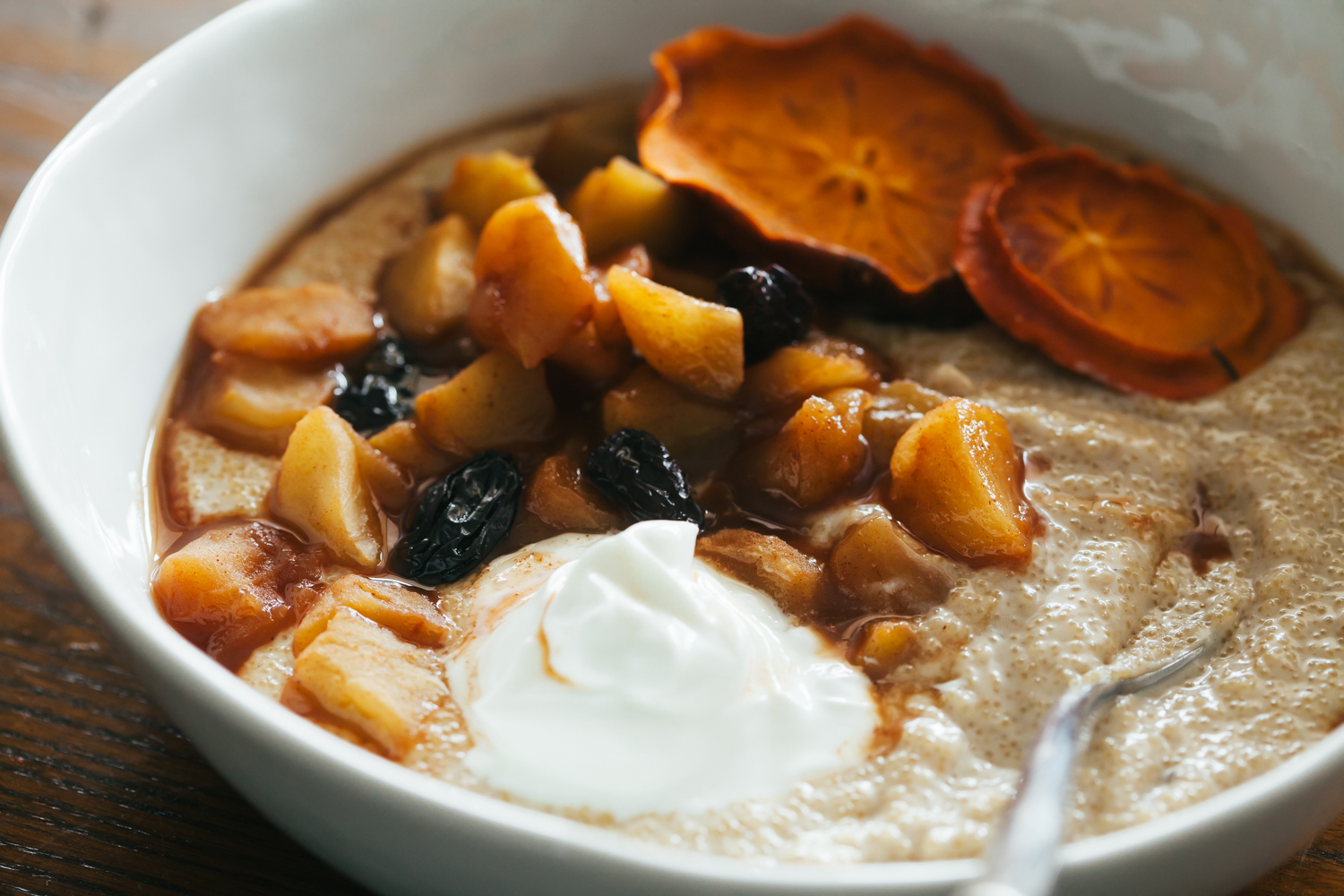 Spiced Amaranth Porridge with Ginger Stewed Apples and Raisins - Golubka Kitchen