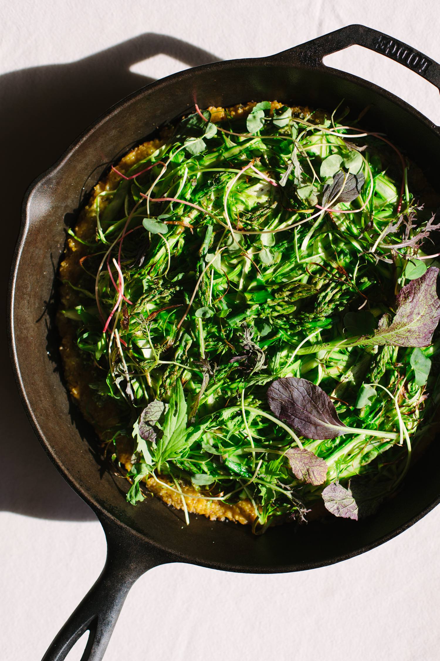 Green Skillet Pizza with Asparagus and Pesto - Golubka Kitchen