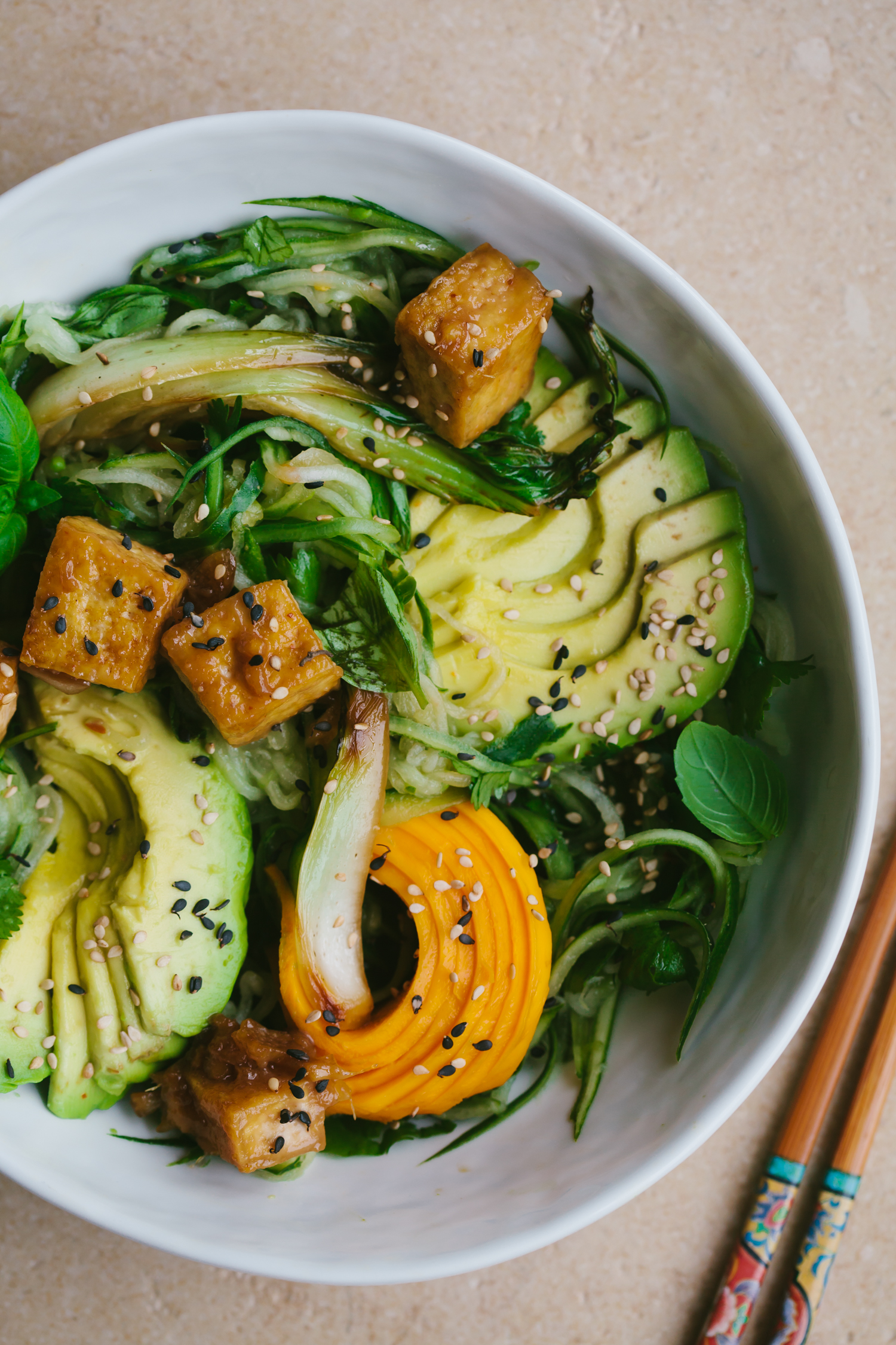 Glazed Tofu with Limey Cucumber Noodles and Mango - Golubka Kitchen