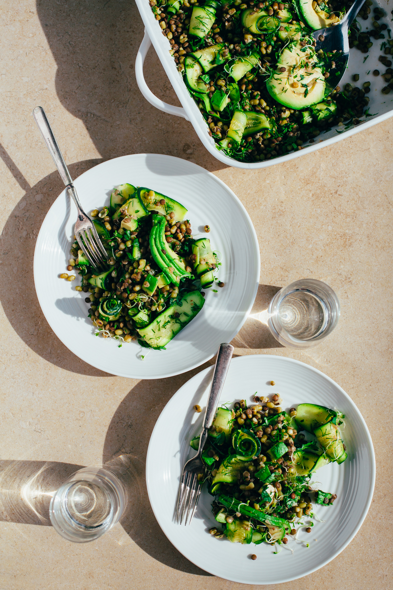 Fennel Marinated Zucchini and Mung Beans - Golubka Kitchen