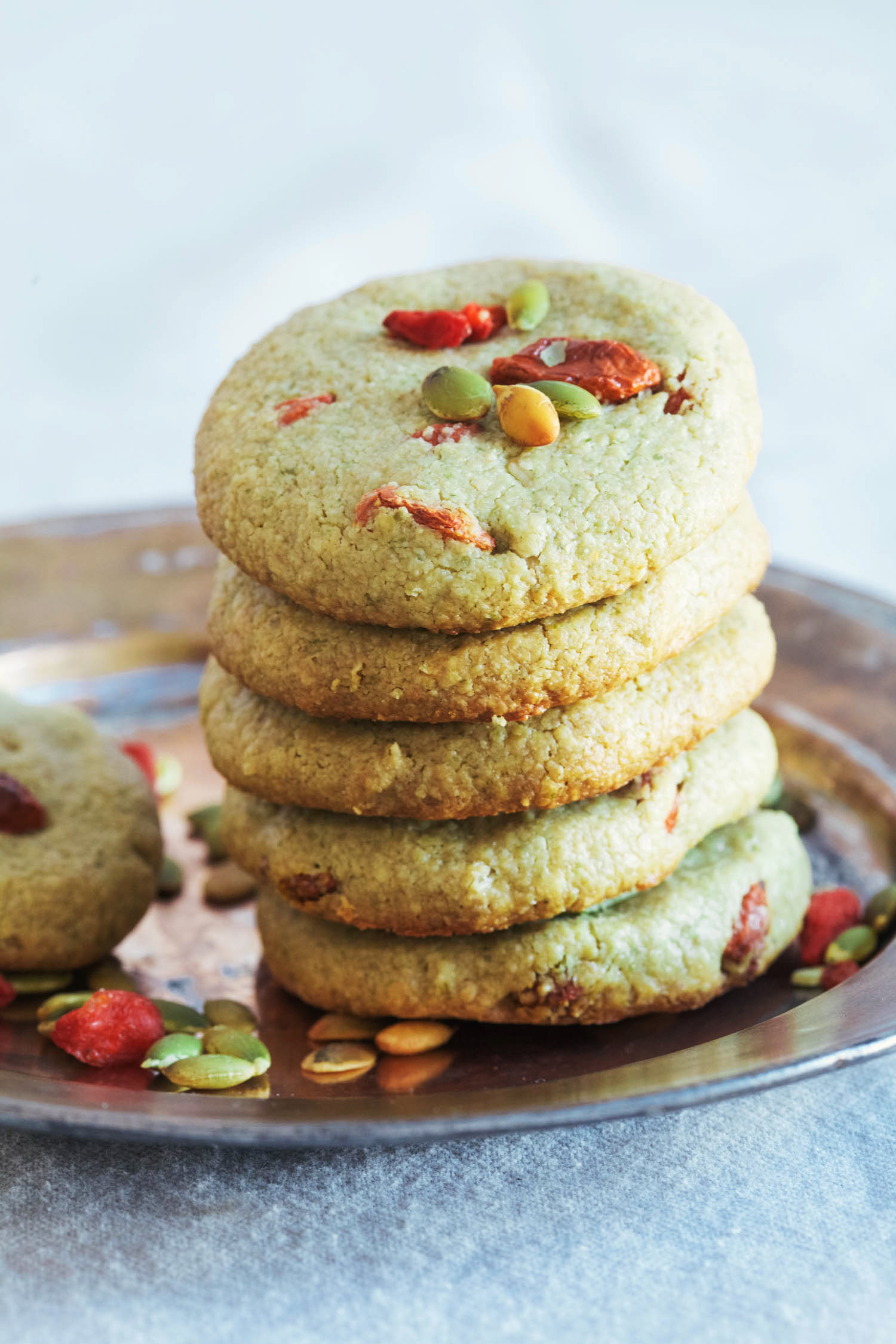 Pumpkinseed Butter Goji Cookies - Golubka Kitchen
