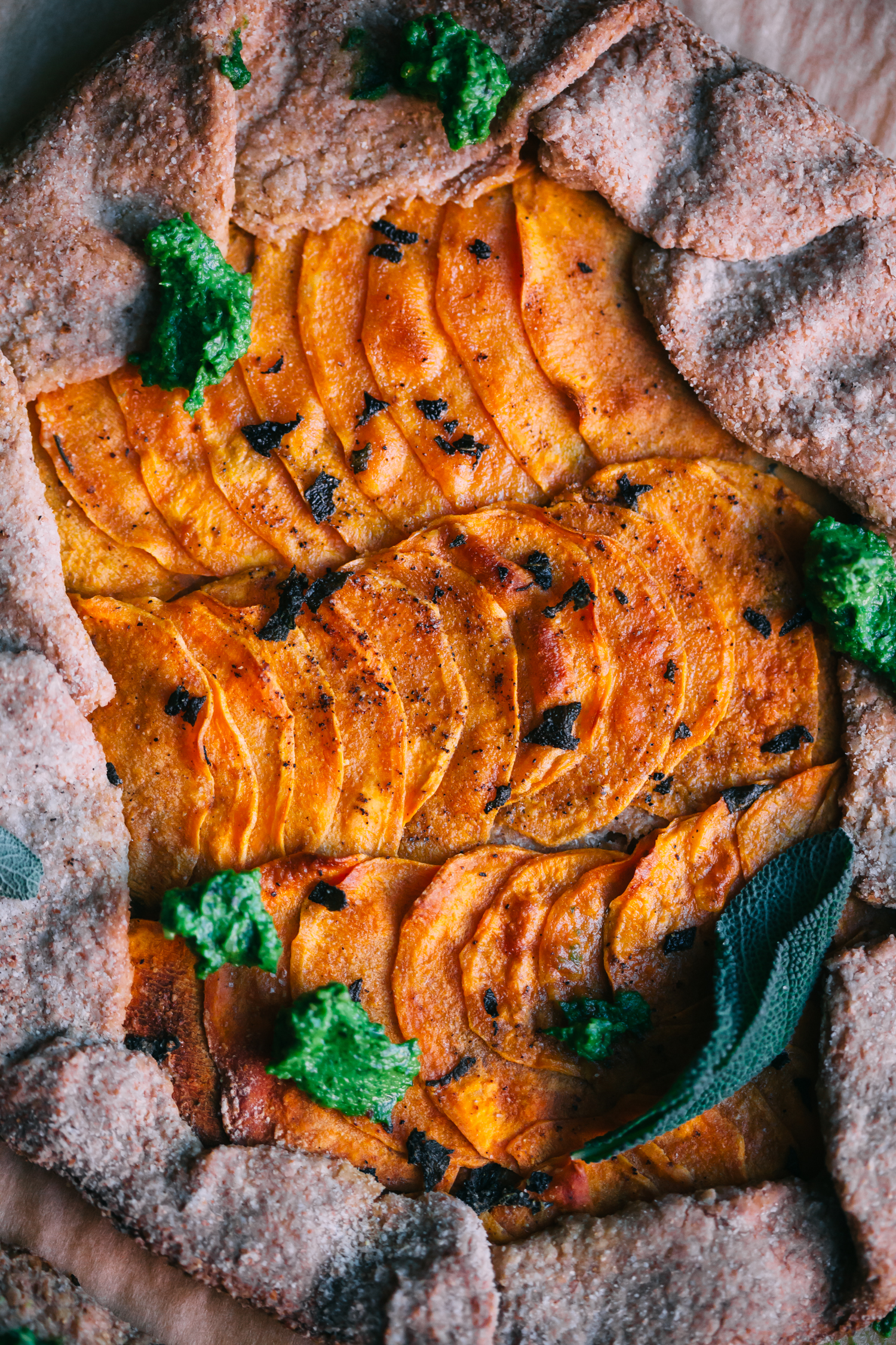 Sweet Potato Galette with Magic Green Sauce - Golubka Kitchen