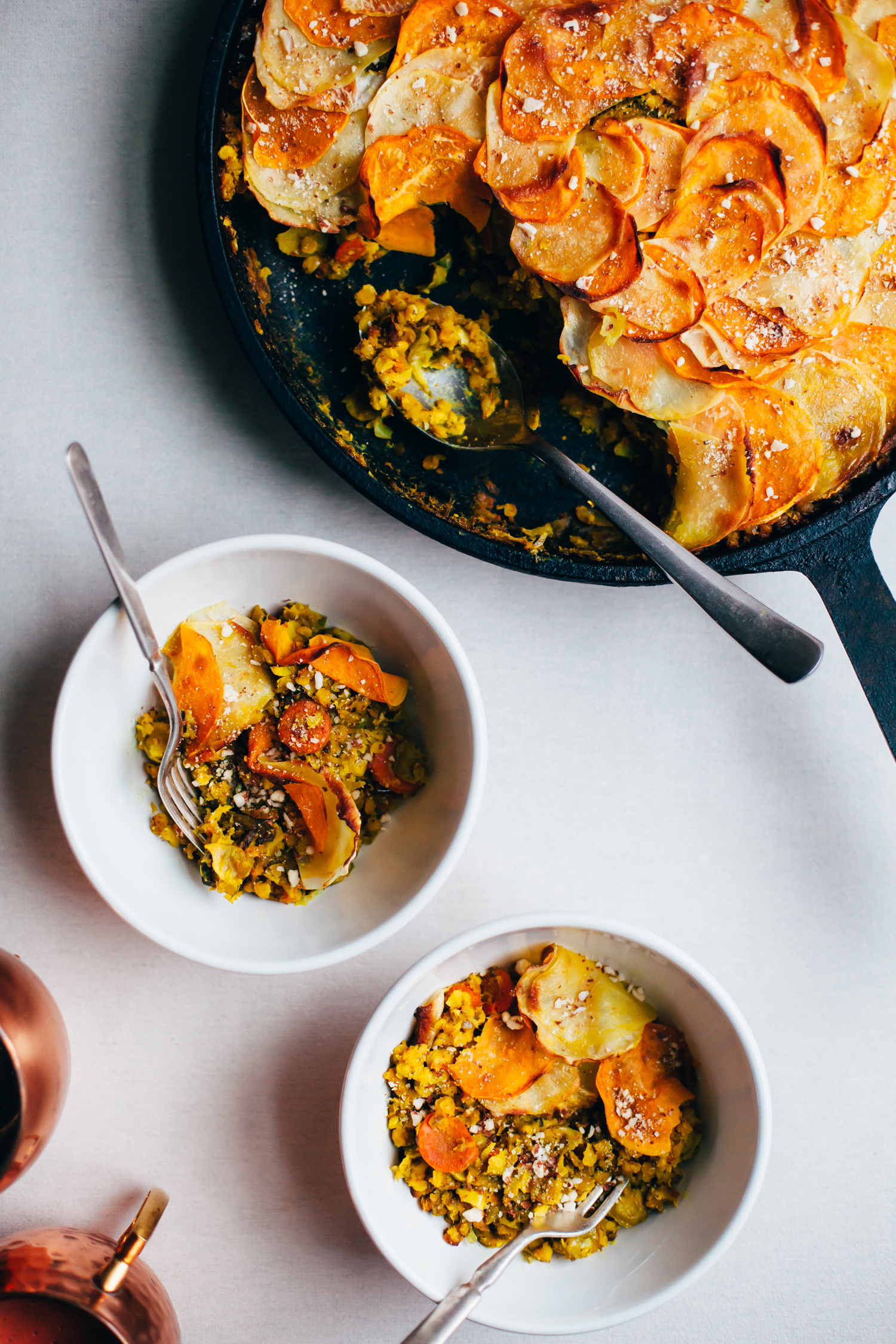 One Pan Brussels Sprout and Red Lentil Pie with a Root Vegetable Crust - Golubka Kitchen