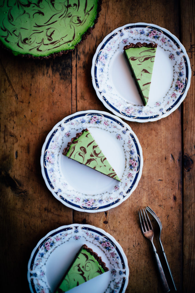 Chocolate Matcha Tart with a Sesame Crust