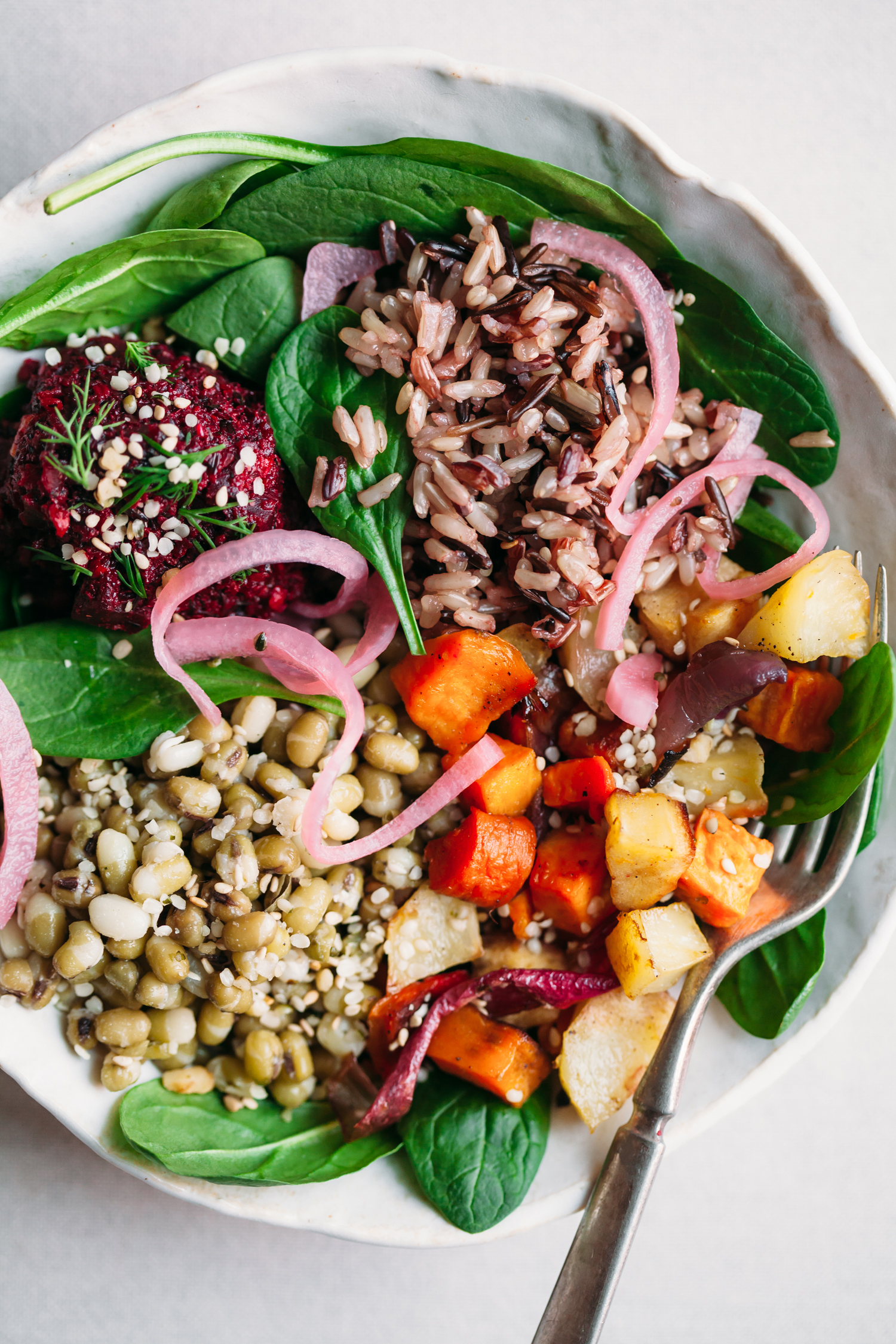 Wild Rice Bowl with Roasted Root Vegetables, Marinated Mung Beans, and Beet Caviar - Golubka Kitchen