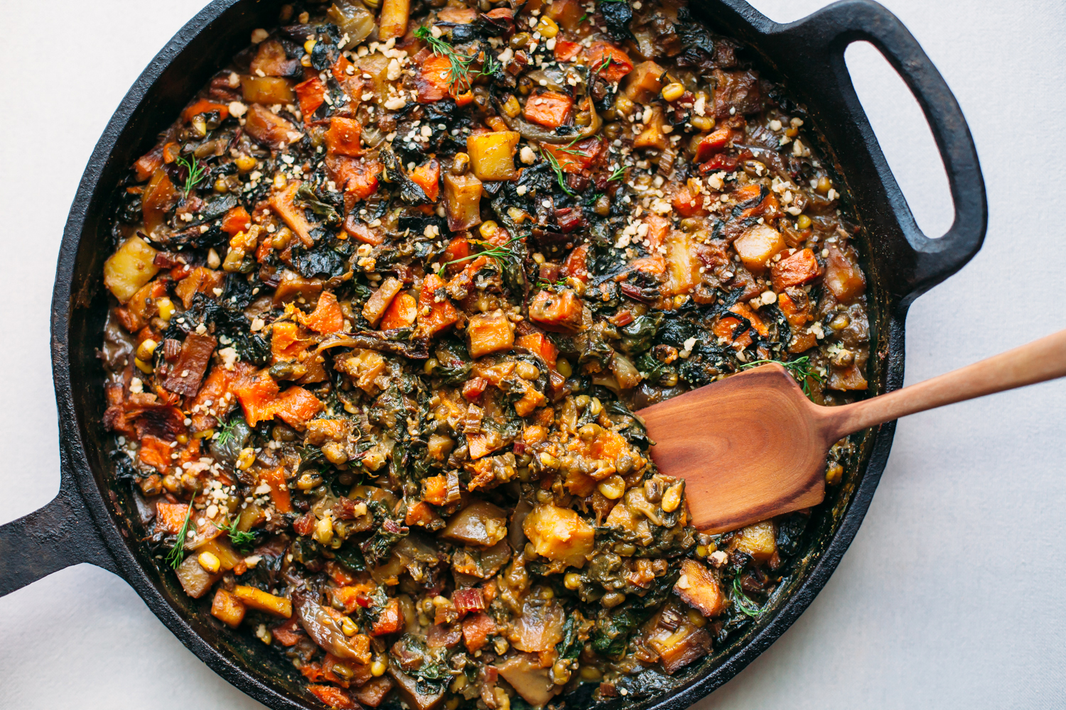 One Pan Root Vegetable, Swiss Chard, and Mung Bean Bake in Coconut Curry - Golubka Kitchen