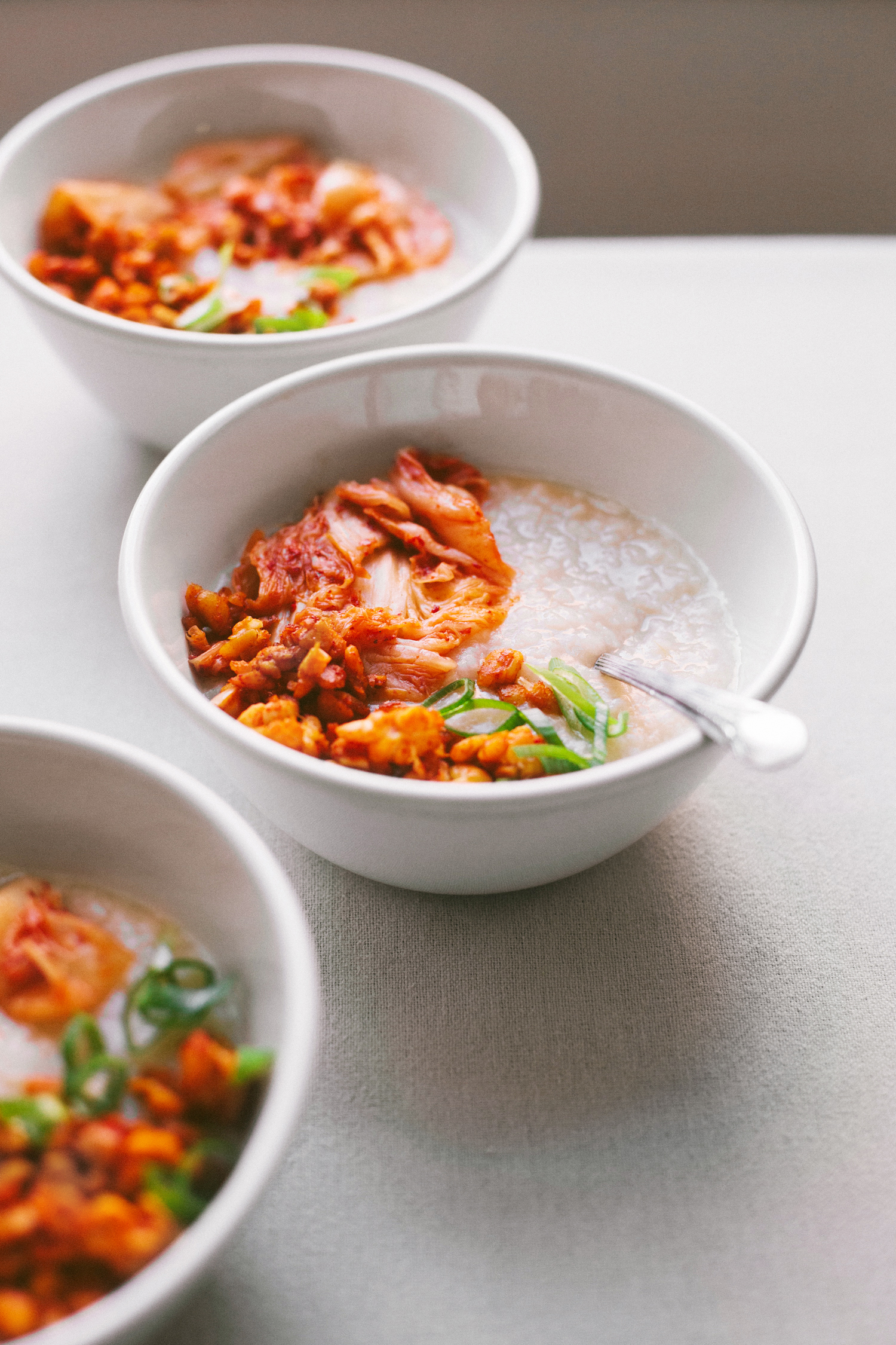 Congee with Smoky Tempeh and Kimchi - Golubka Kitchen