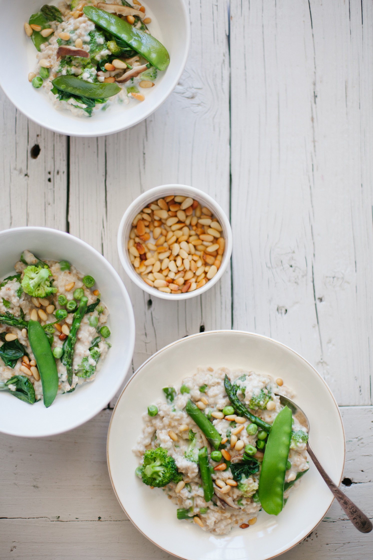 Creamy Steel Cut Oats with Spring Vegetables - Golubka Kitchen