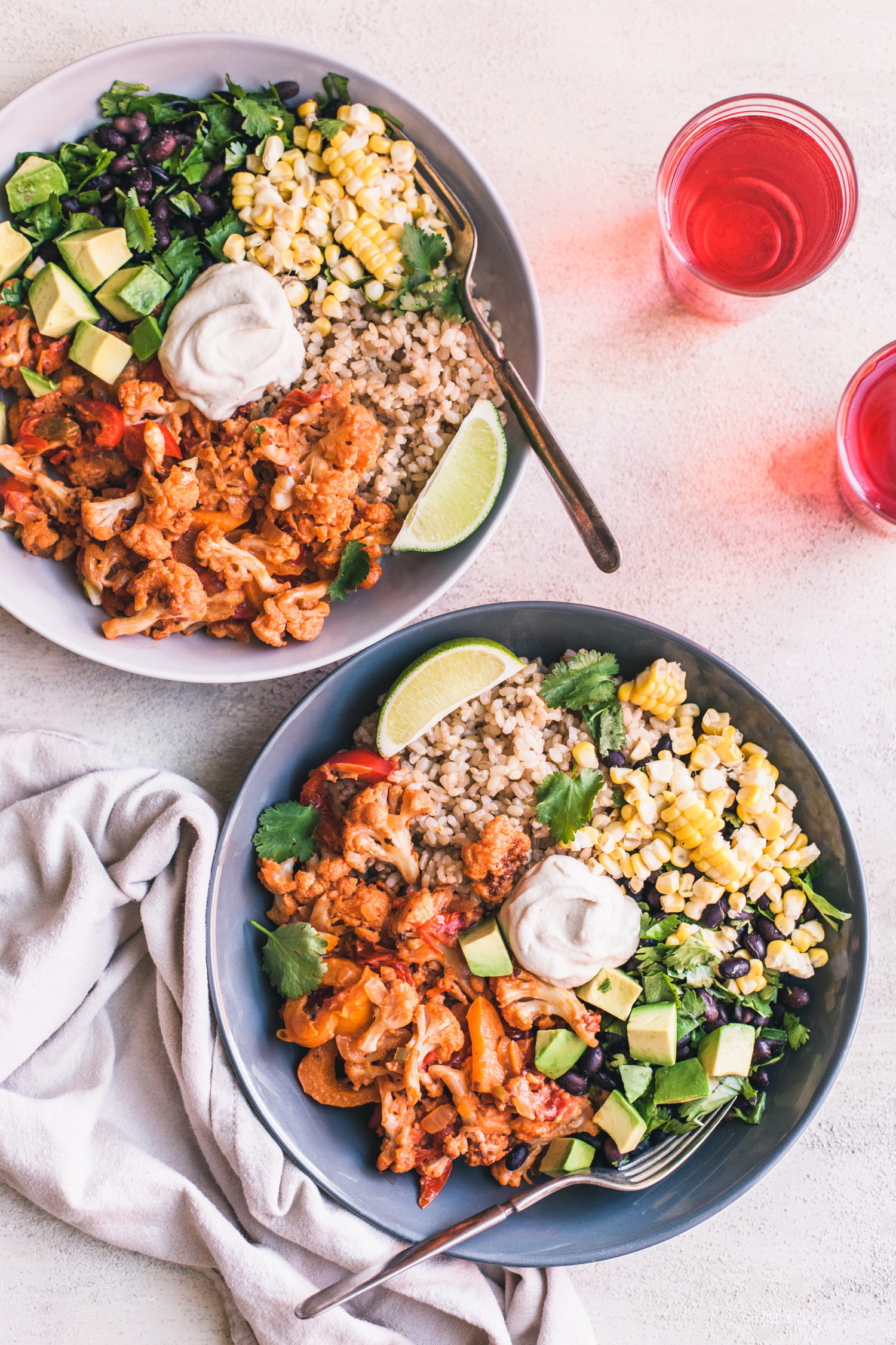 Chipotle Cauliflower Burrito Bowls - Golubka Kitchen