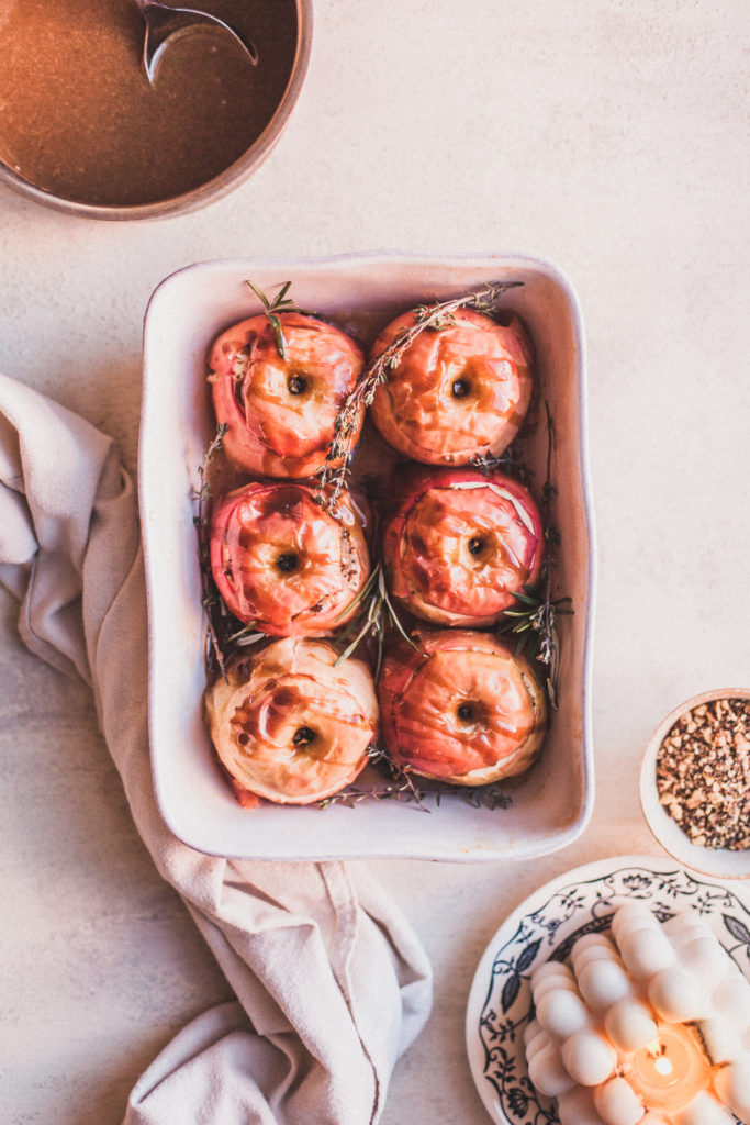 Poppyseed Dukkah-Stuffed Baked Apples with Coconut Caramel