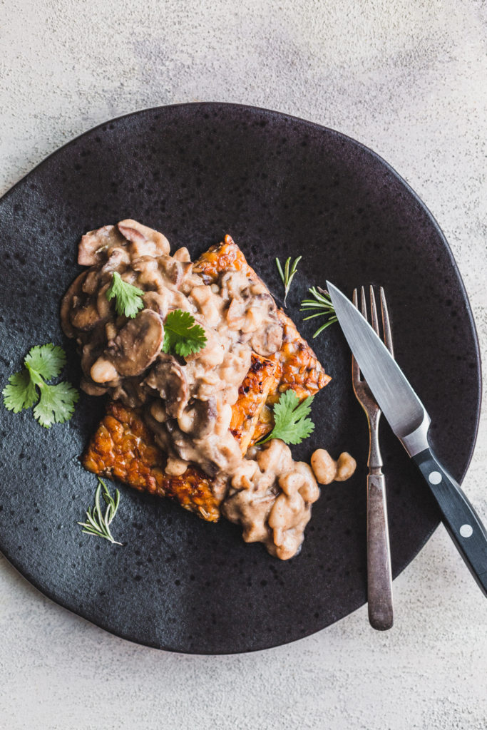 Glazed Tempeh Steaks with Rosemary Mushroom Gravy
