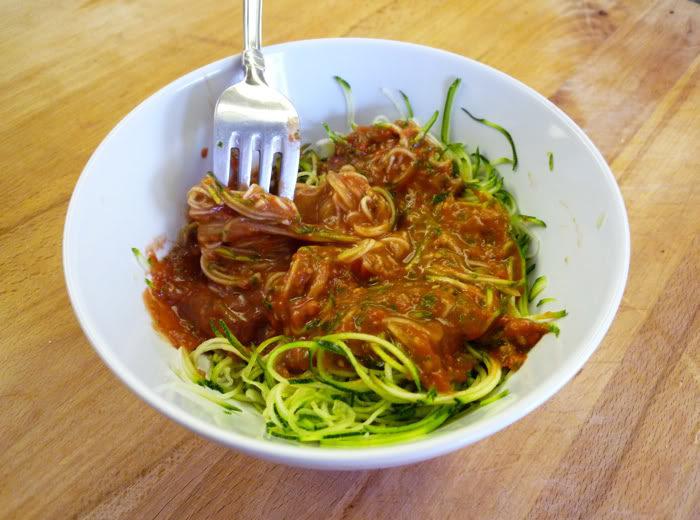 Raw Zucchini Spaghetti with Marinara Sauce