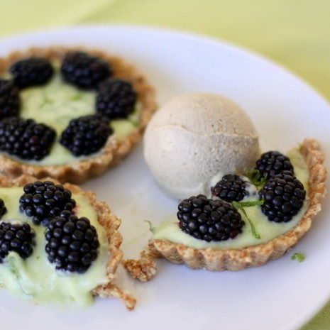 Raw Blackberry and Lime Miniature Tarts with Cardamom Ice Cream