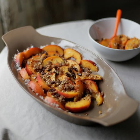 Raw Peach and Nectarine Crumble