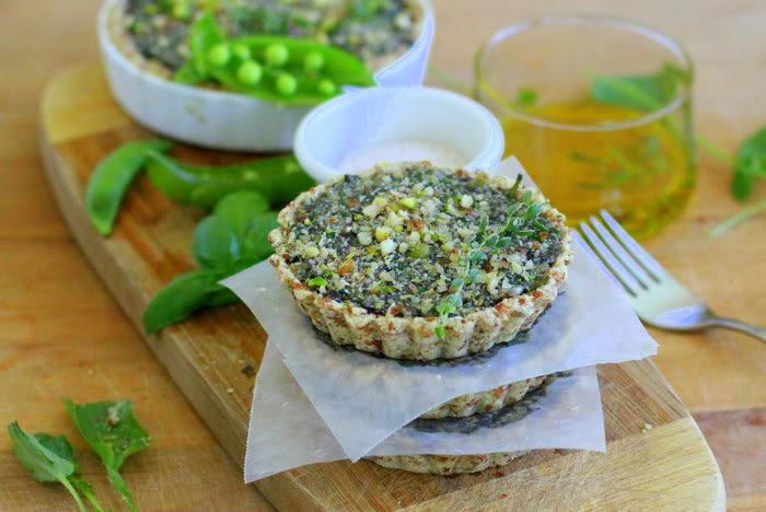 Raw Portobello Mushroom and Curried Spinach Quiche