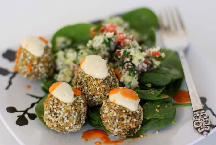 Raw Falafel and Tabouleh