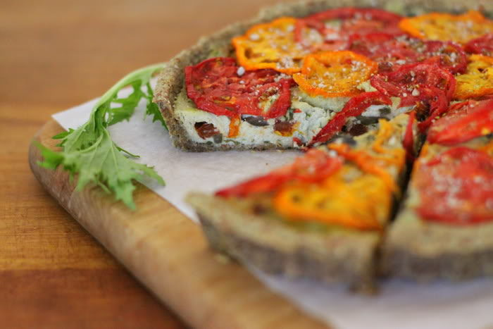 Raw Sun Dried Tomato, Basil, and Olive Tart