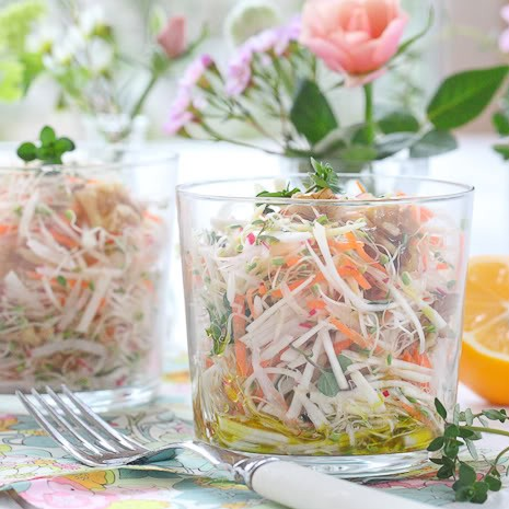 Petite Slaw of Celeriac, Broccoli Sprouts, Meyer Lemon & Thyme by The Alkaline Sisters