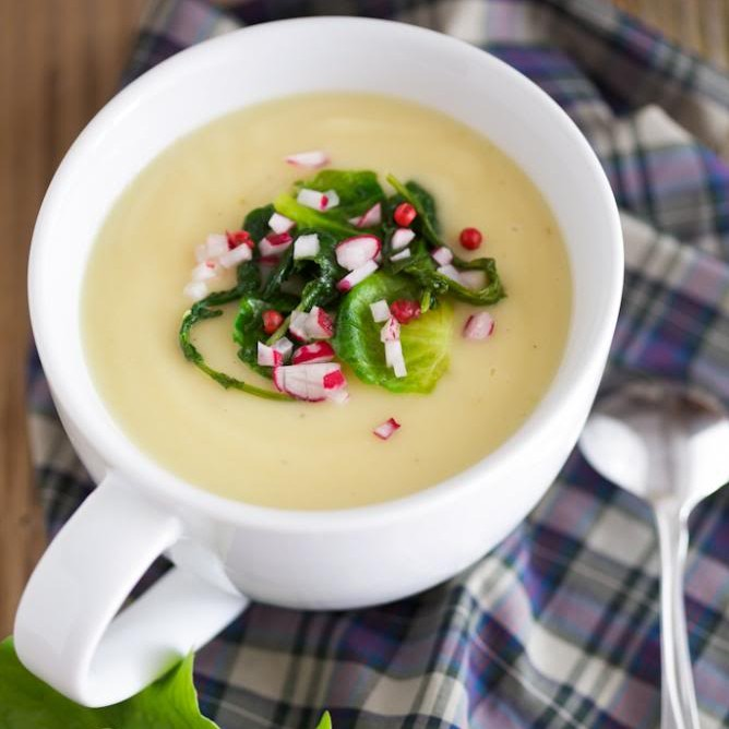 Roasted Parsnip and Apple Soup with Radish Greens