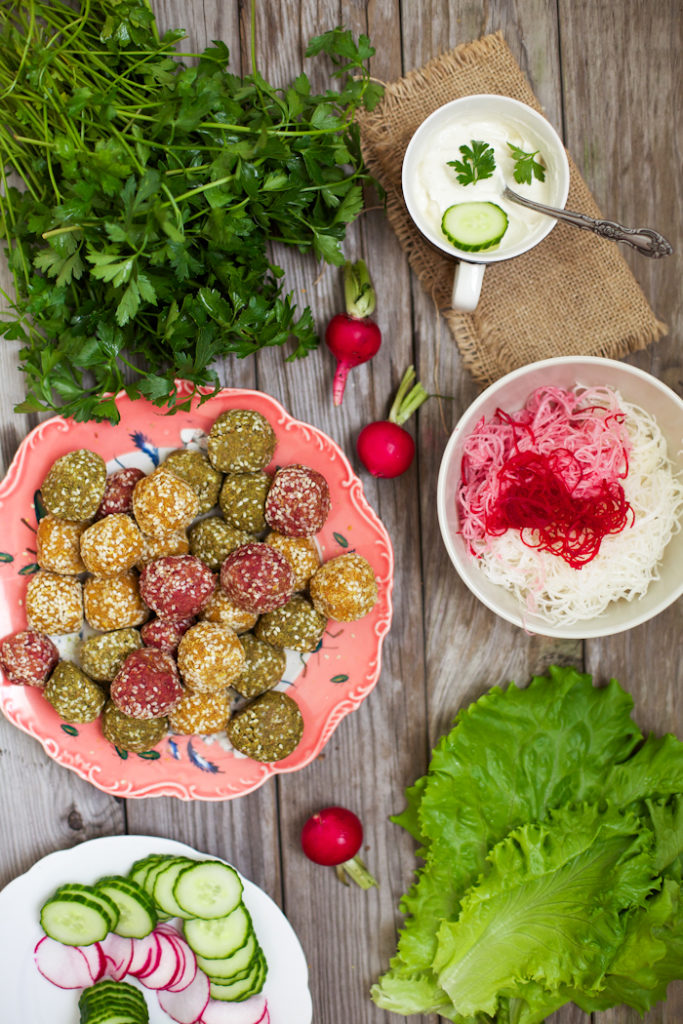 Colourful Veggie Falafel with Pickled Turnips