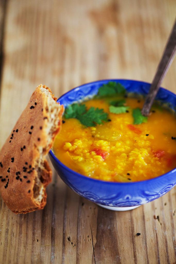 Tomato Dahl with Gluten-Free Naan