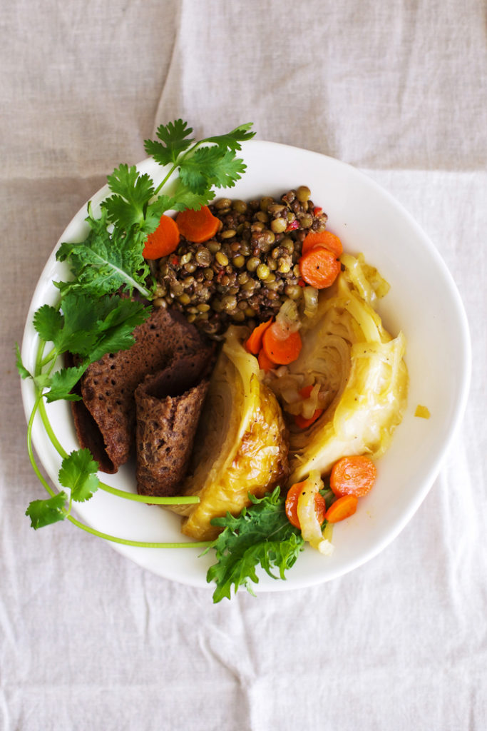 Ethiopian Injera with Mustard Lentils and Braised Cabbage