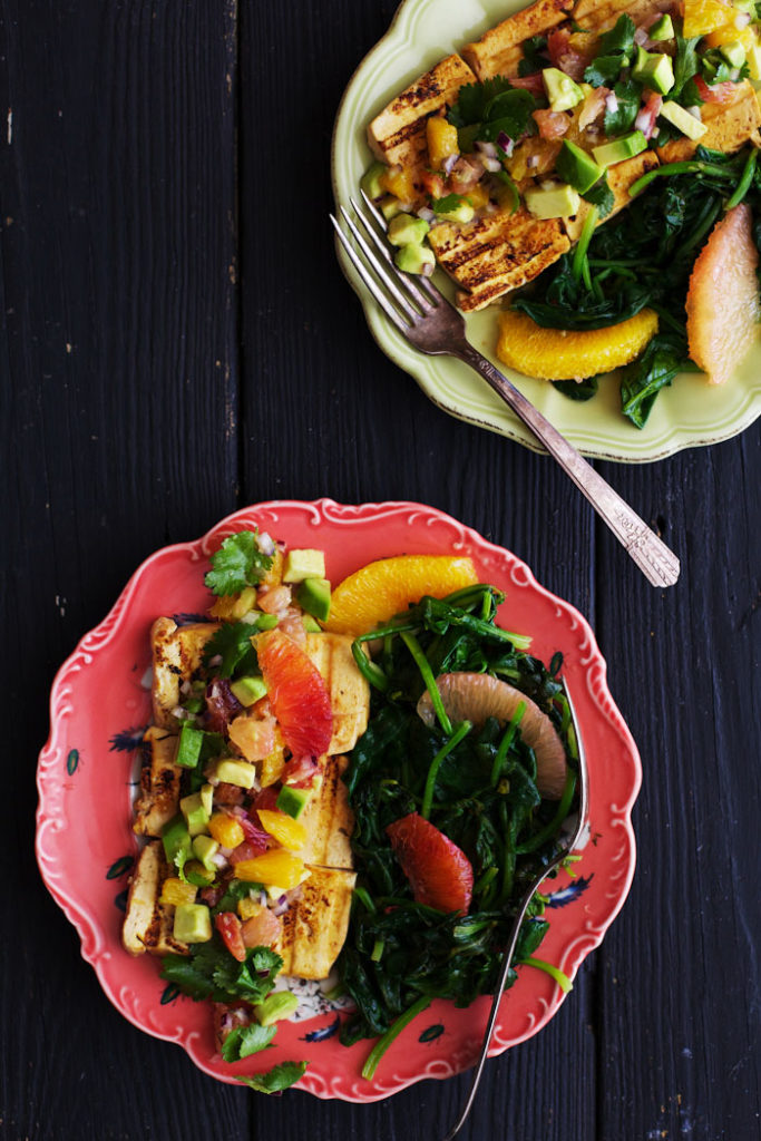 Ginger Marinated Tofu with Citrus Salsa