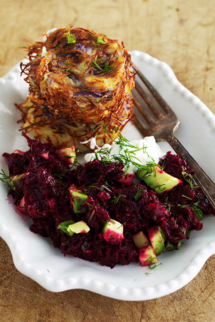 Baked Latkes with Beet and Avocado Salad