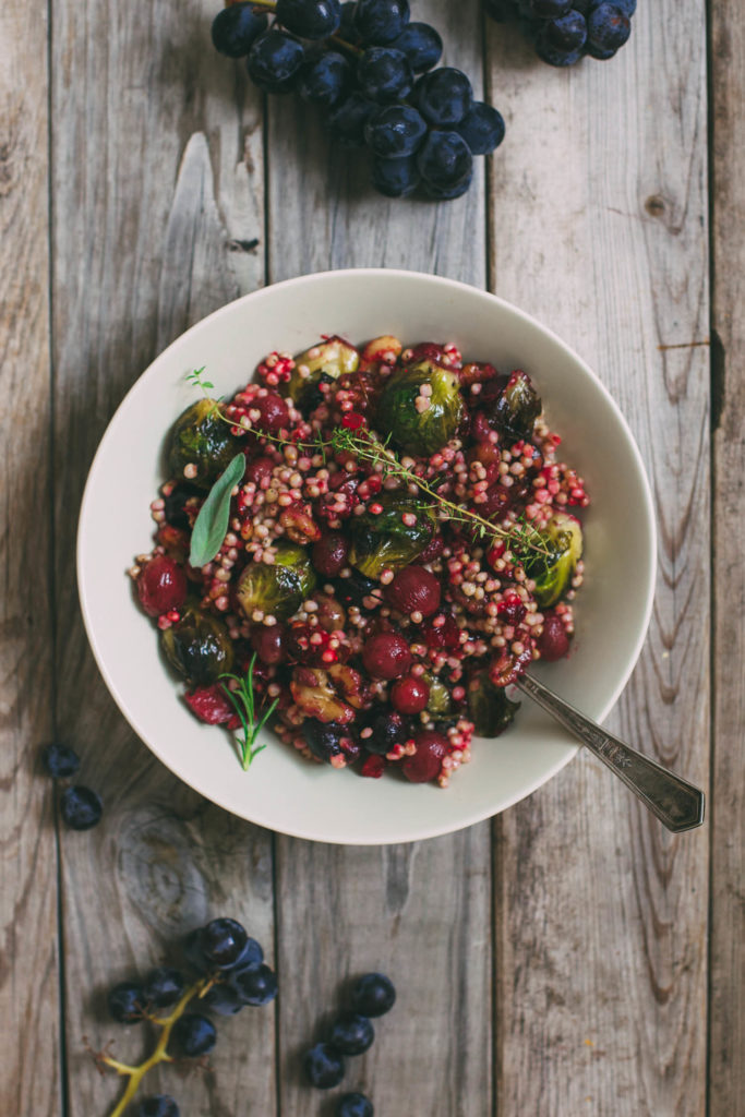 Sorghum Pilaf with Roasted Brussels Sprouts, Cranberries and Grapes