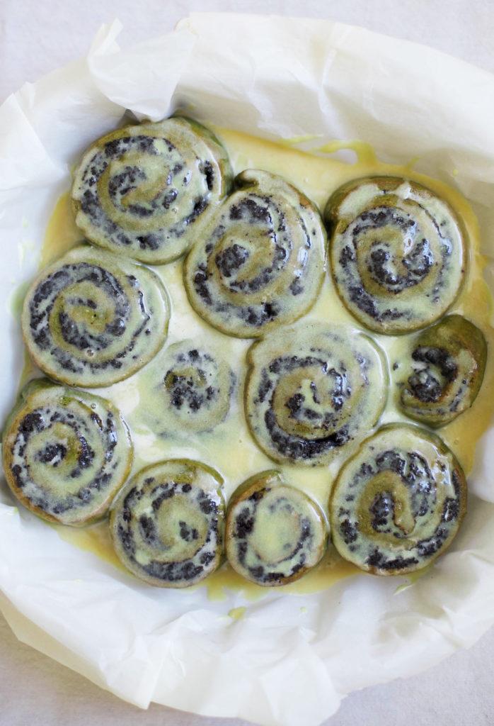 Black Sesame Matcha Rolls with Miso Lemon Glaze
