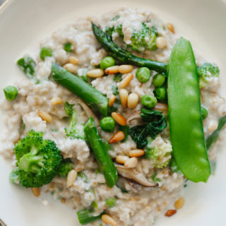 Creamy Steel Cut Oats with Spring Vegetables