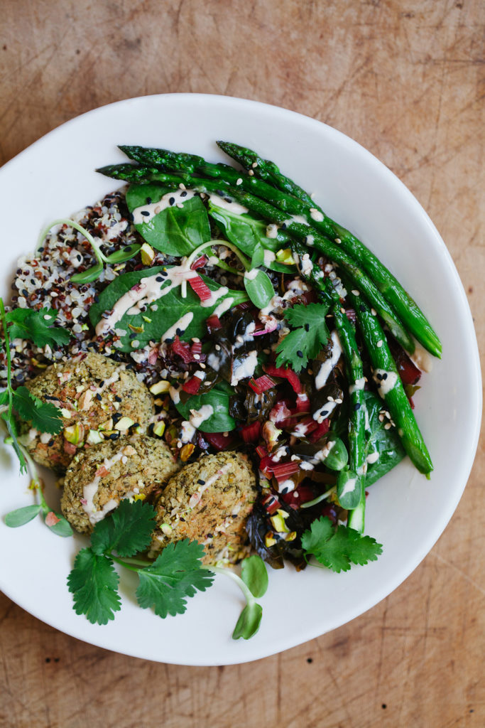 Mung Bean Falafel Bowl with Pickled Rainbow Chard