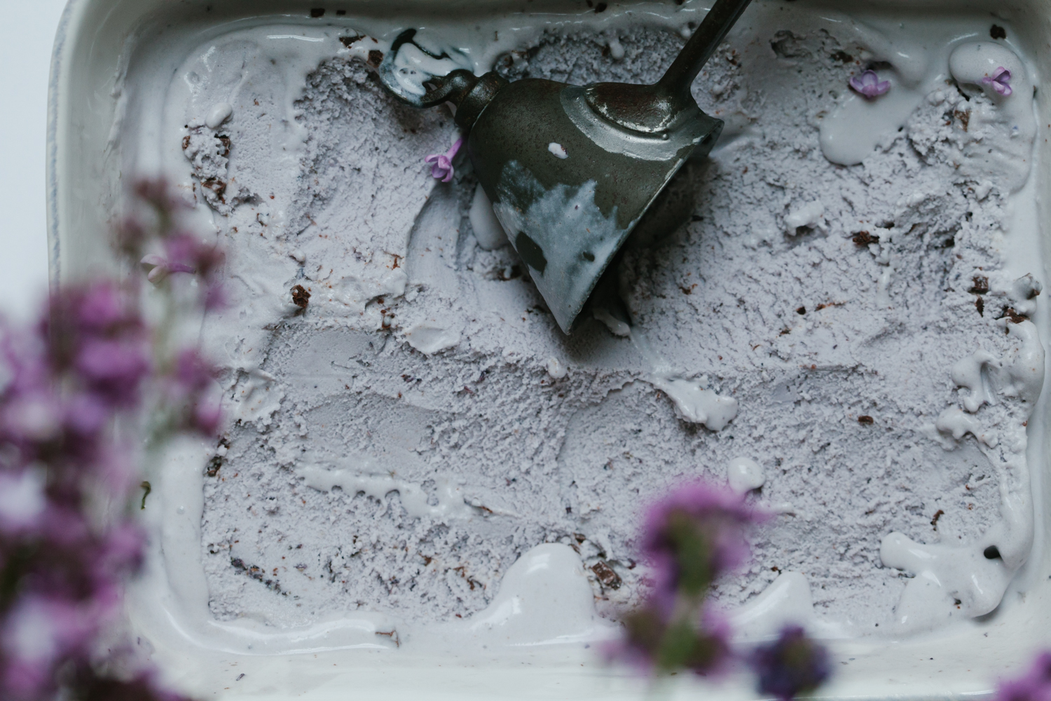 Lavender Ice Cream with Chocolate Tahini Bits | Golubka Kitchen