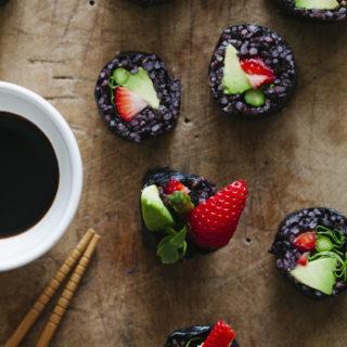 Strawberry and Asparagus Black Rice Sushi | Golubka Kitchen